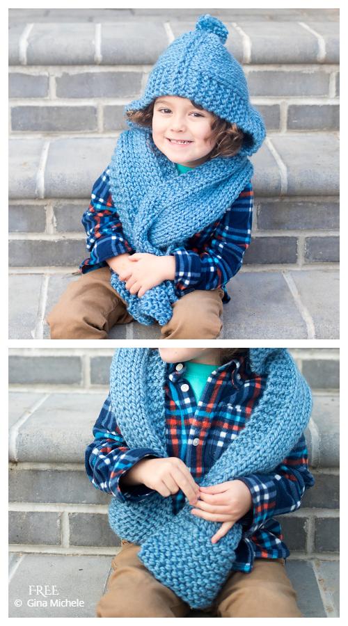Beginner Easy Kid's Hooded Scarf Free Knitting Patterns