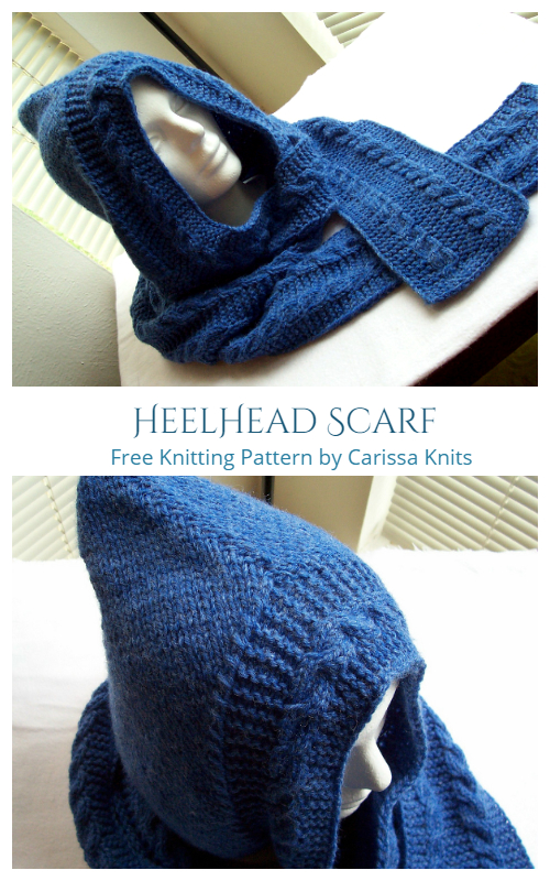 HeelHead Hooded Scarf Free Knitting Patterns
