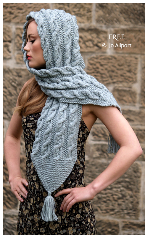 Harriet Hooded Scarf Free Knitting Patterns