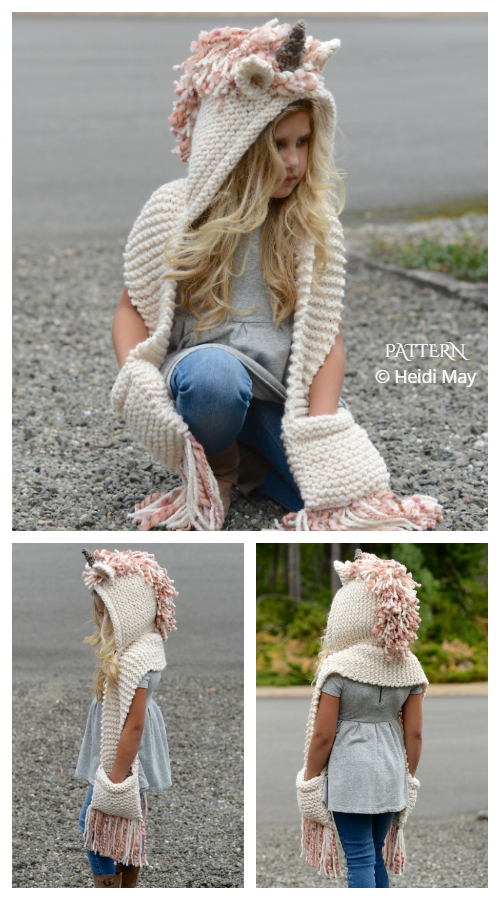 Unice Unicorn Hooded Scarf Knitting Patterns