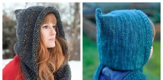 Knit Hooded Scarf Free Knitting Patterns