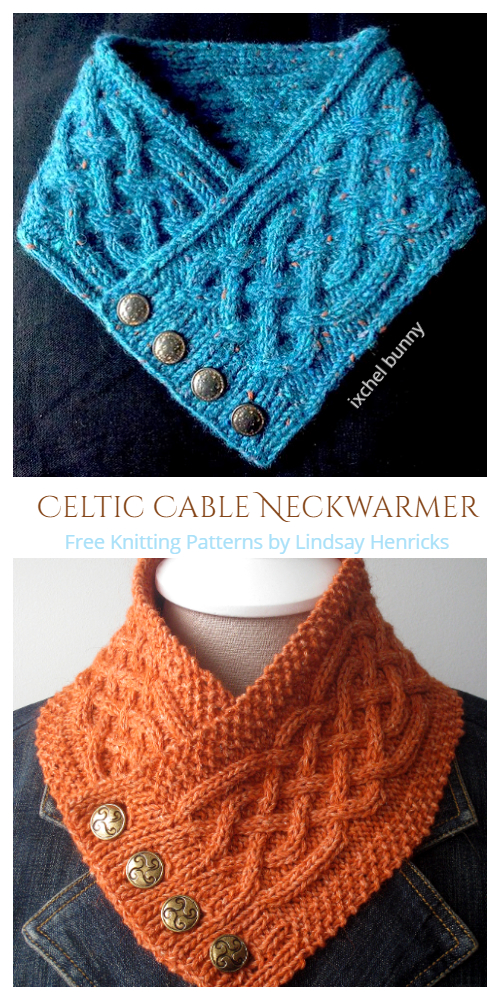 Buttoned Celtic Cable Neckwarmer Free Knitting Patterns