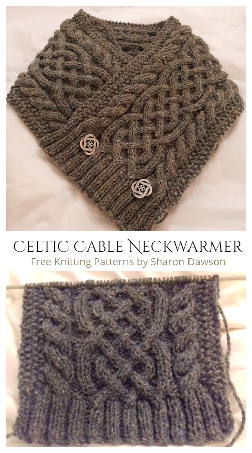 Braveheart Buttoned Cable Neckwarmer Free Knitting Patterns