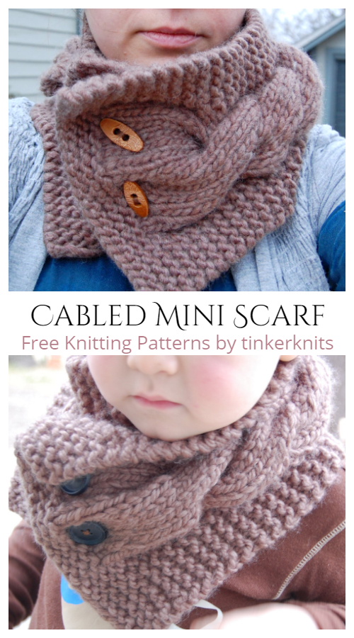 Chunky Cabled Mini Scarf Neckwarmer Free Knitting Patterns