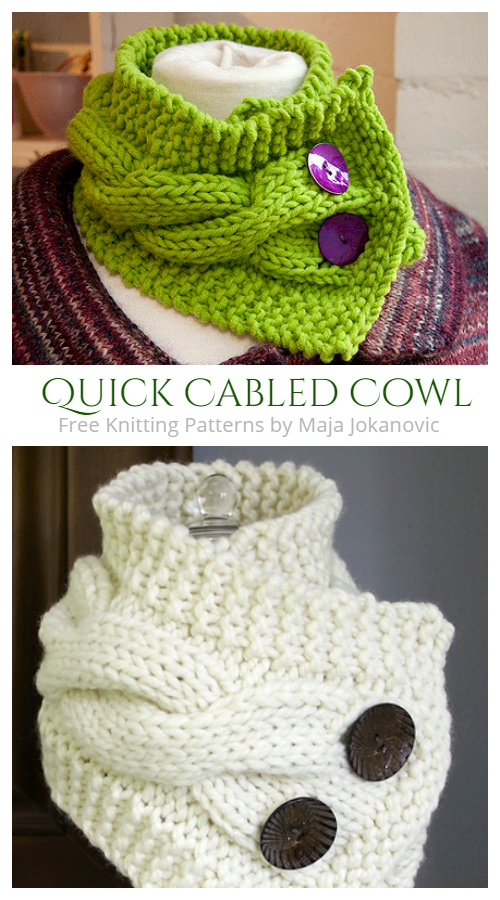 Quick Cabled Cowl Neckwarmer Free Knitting Patterns