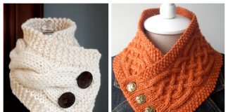 Buttoned Cable Neckwarmer Free Knitting Patterns