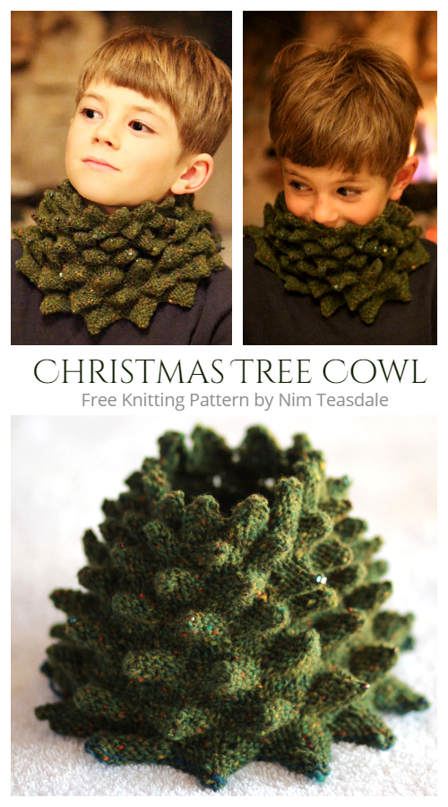 Knit Christmas Tree Cowl Free Knitting Pattern
