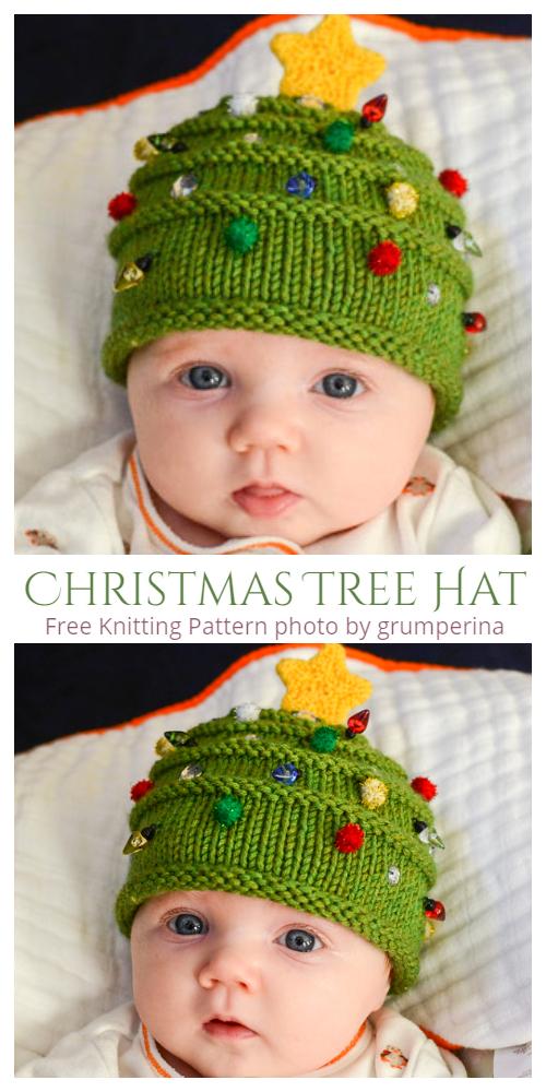 Knit Baby Christmas Tree Hat Free Knitting Patterns