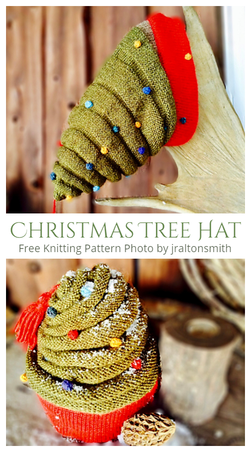 Knit Adult Christmas Tree Hat Free Knitting Patterns