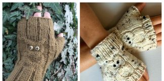 Knit Owl Fingerless Gloves Free Knitting Patterns
