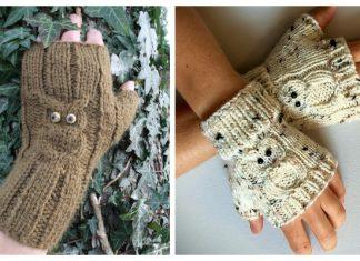 Knit Owl Fingerless Gloves Free Knitting Patterns
