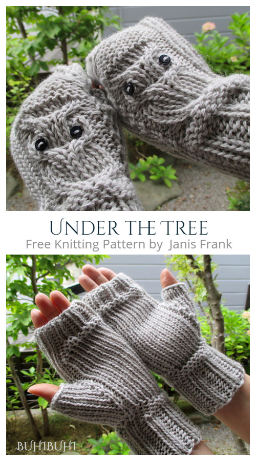Knit Under the Tree Owl Fingerless Gloves Free Knitting Patterns