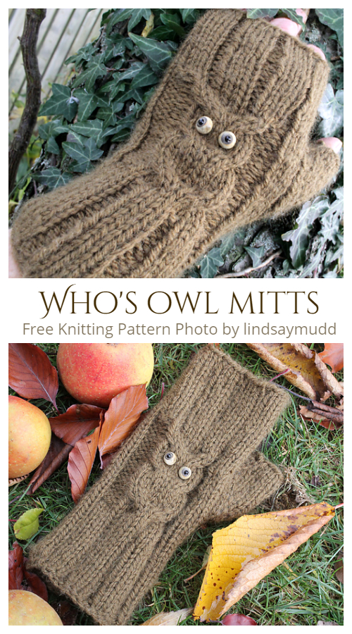 Knit Who's owl mitts Free Knitting Patterns