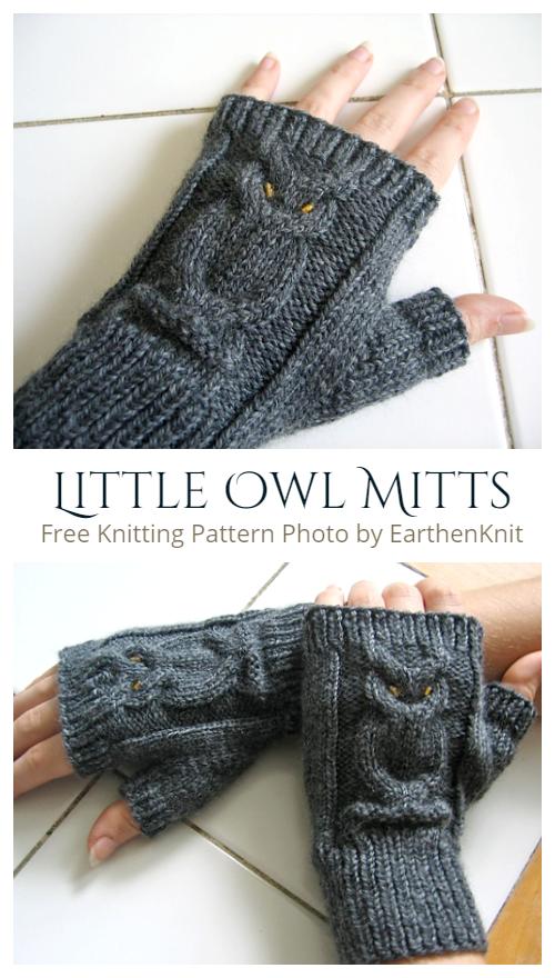 Knit Little Owl Mitts Fingerless Gloves Free Knitting Patterns