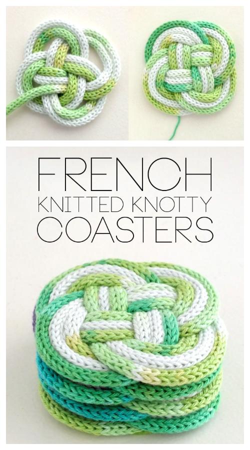 Modèles de tricot gratuits pour dessous de verre noués en I-Cord
