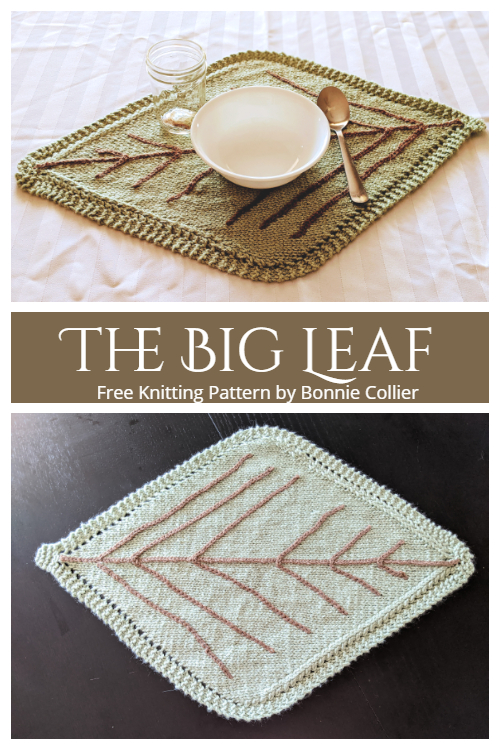 The BIG Leaf Placemat Free Knitting Patterns
