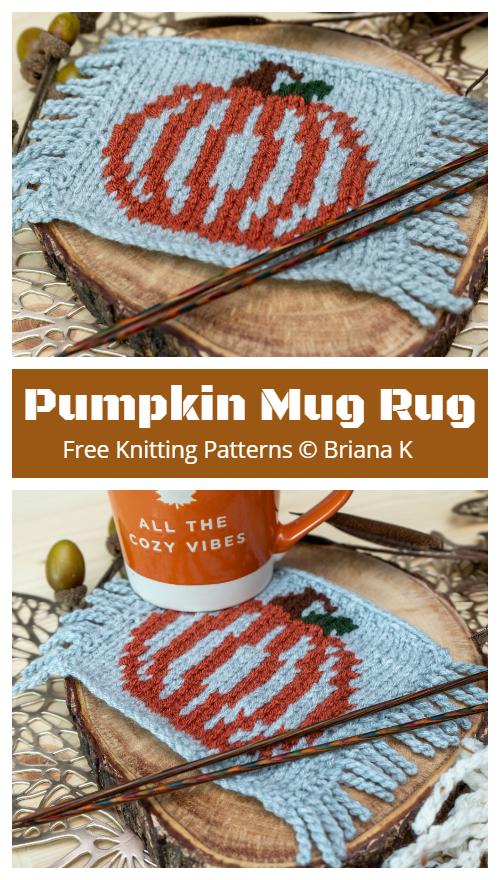 Pumpkin Mug Rug Free Knitting Patterns
