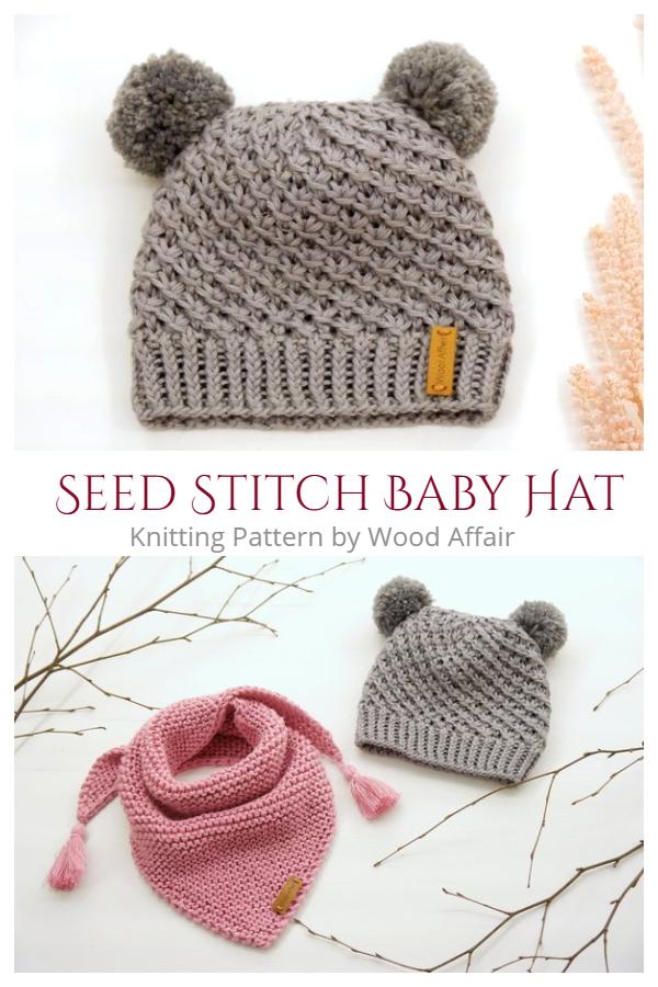 Seed Stitch Baby Hat Knitting Pattern