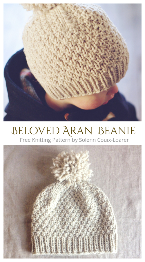 Seed Stitch Beloved Aran Hat Free Knitting Patterns