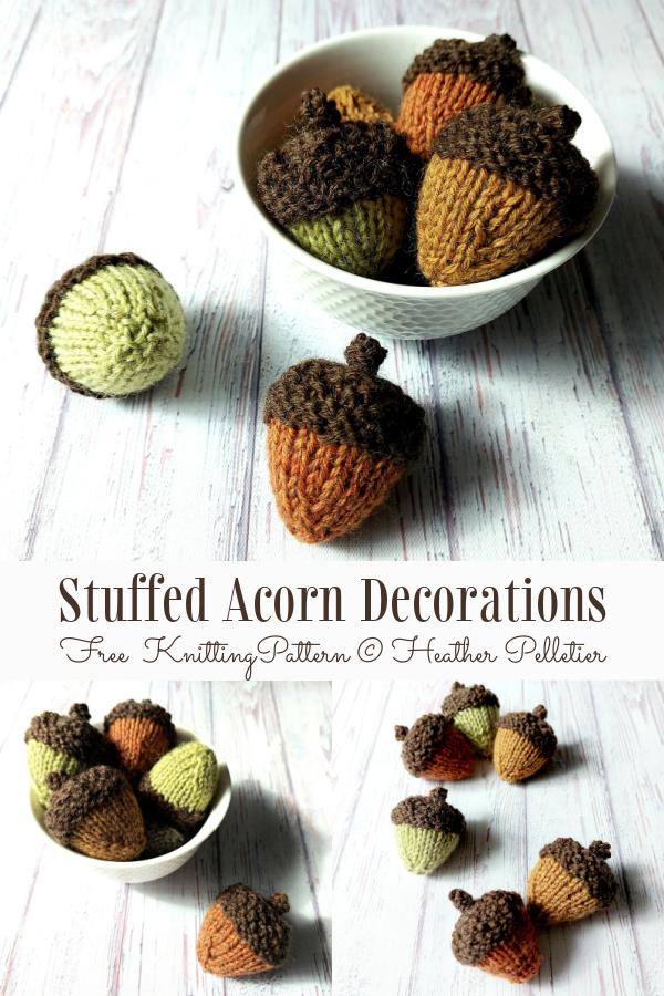 Stuffed Acorn Decorations Free Knitting Pattern