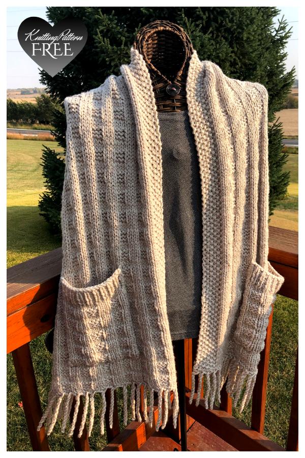 Irish Tartan Pocket Shawl Free Knitting Patterns
