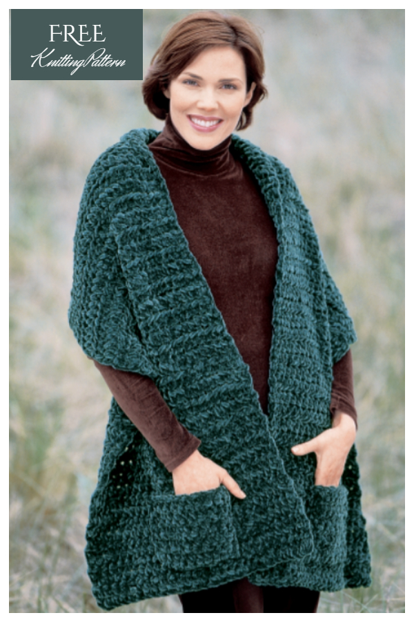 Plush Pocket Wrap Shawl Free Knitting Patterns