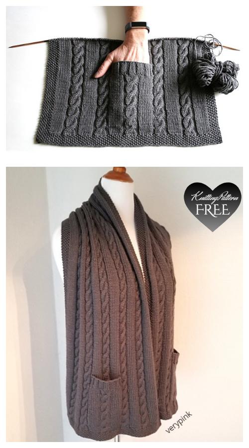 Cabled Pocket Shawl Free Knitting Patterns