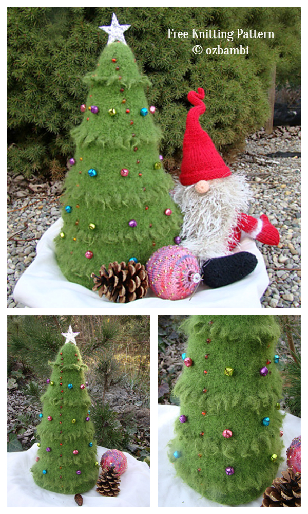 3D Felted Christmas Tree Free Knitting Patterns