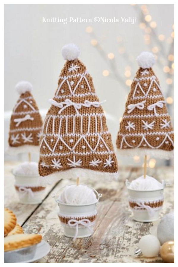 3D Gingerbread Christmas Tree Free Knitting Patterns