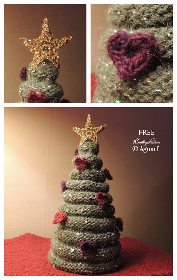 3D Purled Christmas Tree Free Knitting Patterns