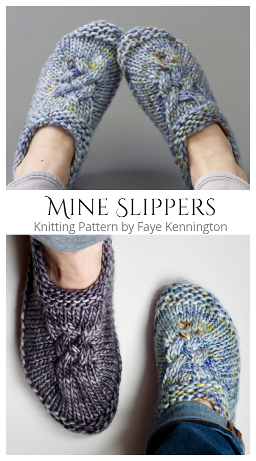 Cable Mine Slippers Knitting Patterns