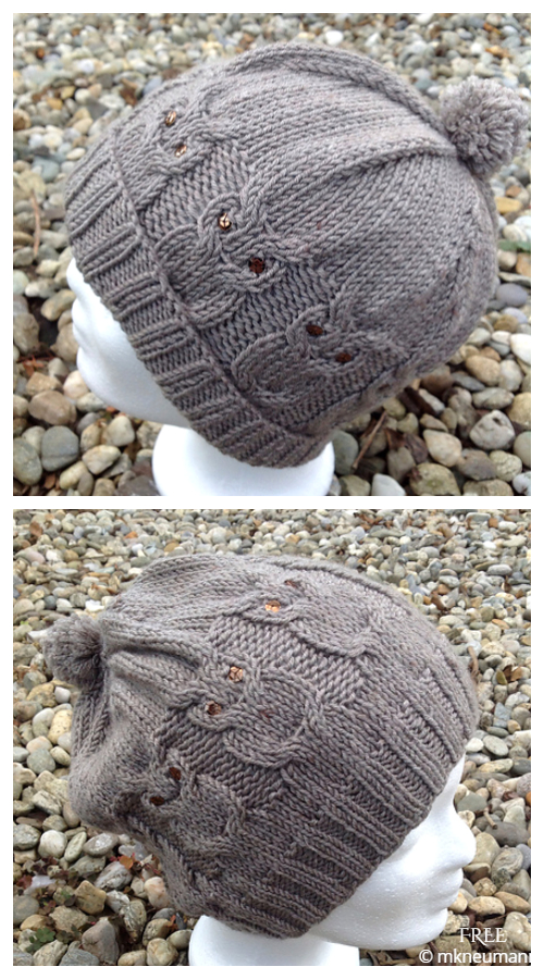 Who Cabled Owl Hat Free Knitting Patterns