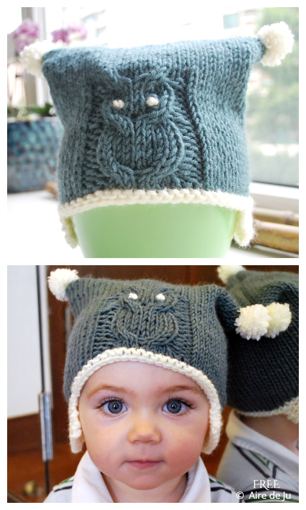 Cabled Owl Baby Bonnet Hat Free Knitting Patterns