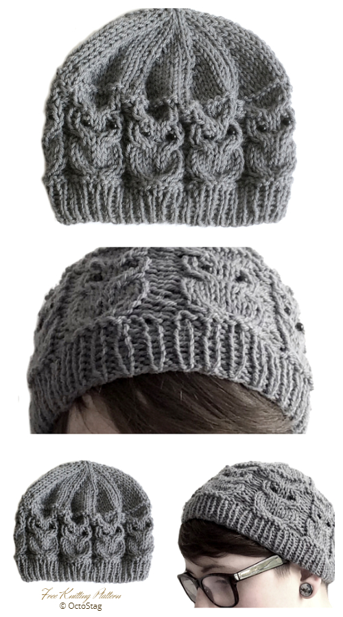 Cabled Owl Beanie Hat Free Knitting Patterns