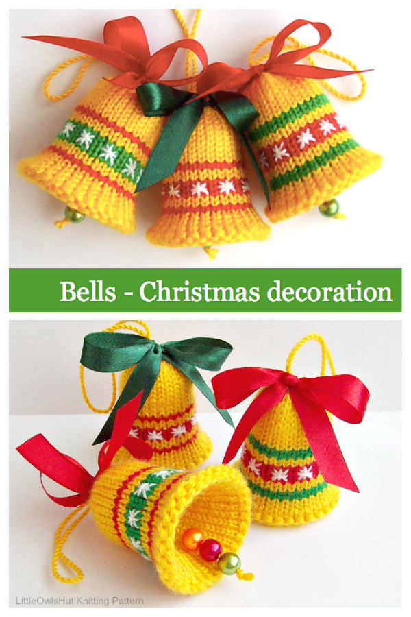 Christmas Bell Ornament Knitting Patterns