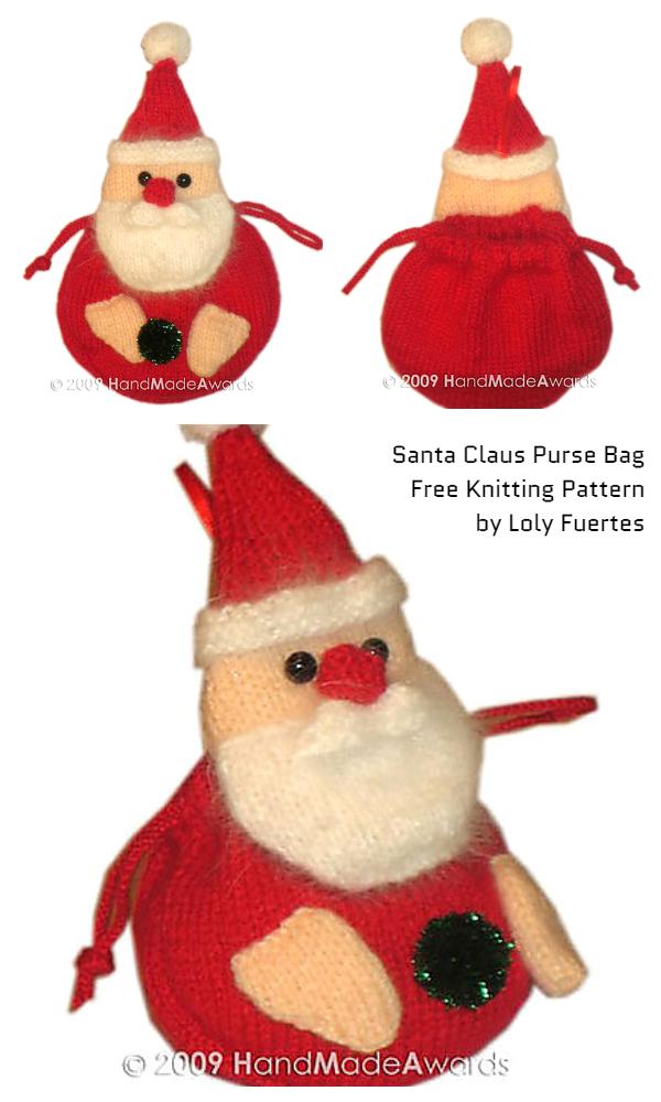 Knit Christmas Christmas Santa Claus Purse Gift Bag Free Knitting Patterns