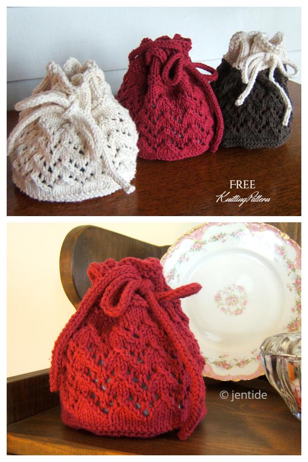 Knit Holiday Gift Bag Free Knitting Patterns
