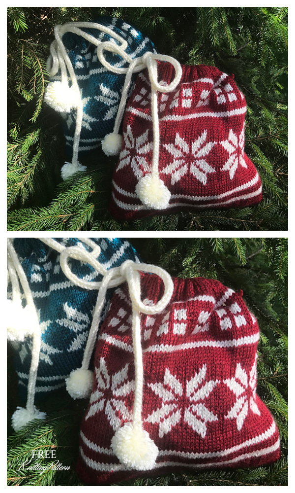 Knit Poinsettia Christmas Gift Bag Free Knitting Patterns