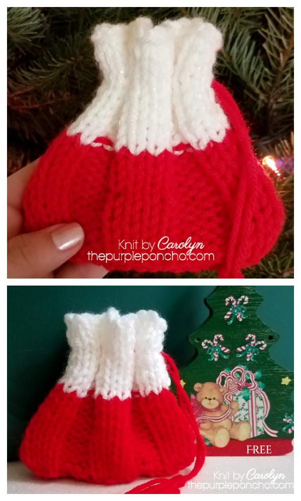 Knit Christmas Santa Gift Bag Free Knitting Patterns