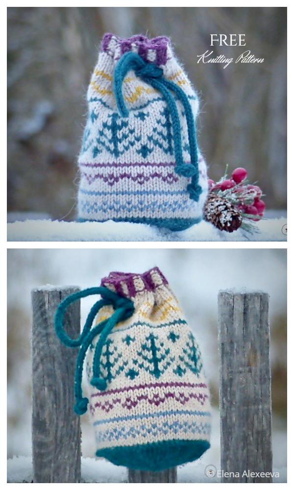 Knit Drawstring Gift Bag Free Knitting Patterns