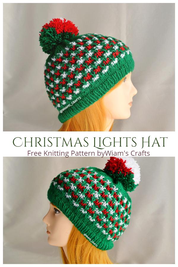 Knit Christmas Lights Hat Free Knitting Pattern