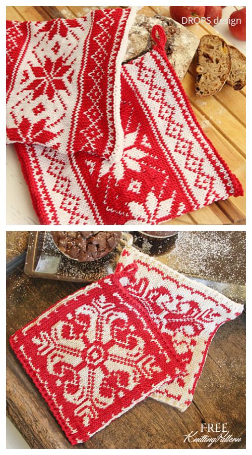 Nordic Christmas Potholder Free Knitting Patterns