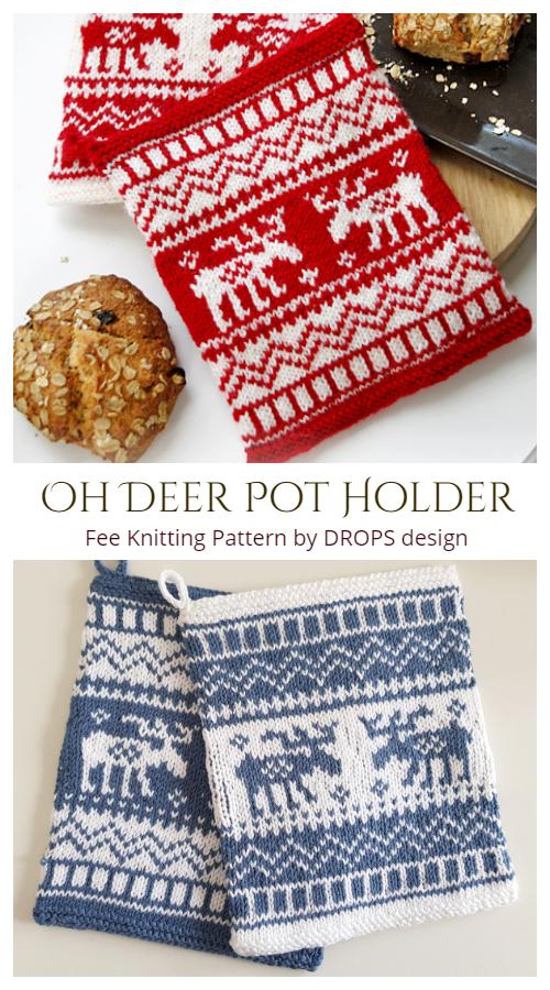 Knit Oh Deer Christmas Potholder Free Knitting Patterns