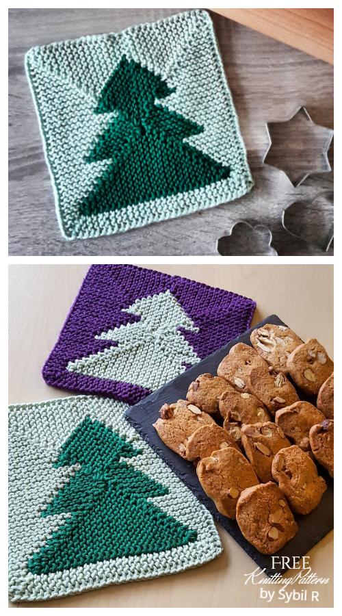 Christmas Tree Potholder Free Knitting Patterns