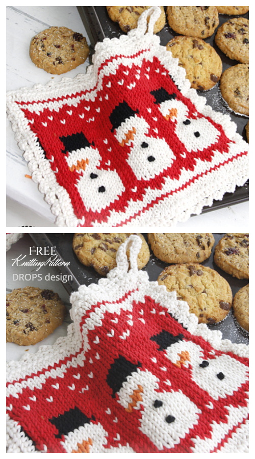 Snowman Christmas Potholder Free Knitting Patterns