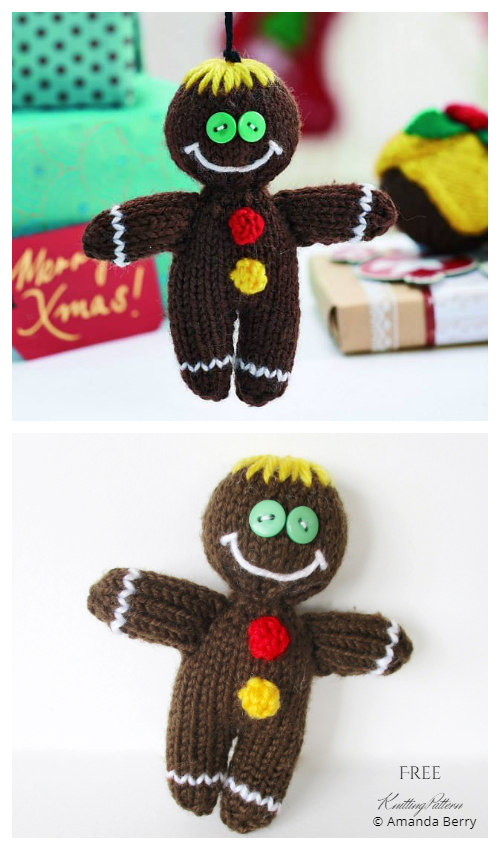 Amigurumi Gingerbread Men Ornament Free Knitting Patterns