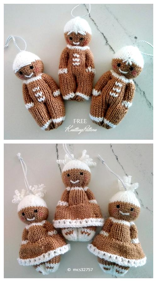 Amigurumi Mini Gingerbread Friends Free Knitting Patterns