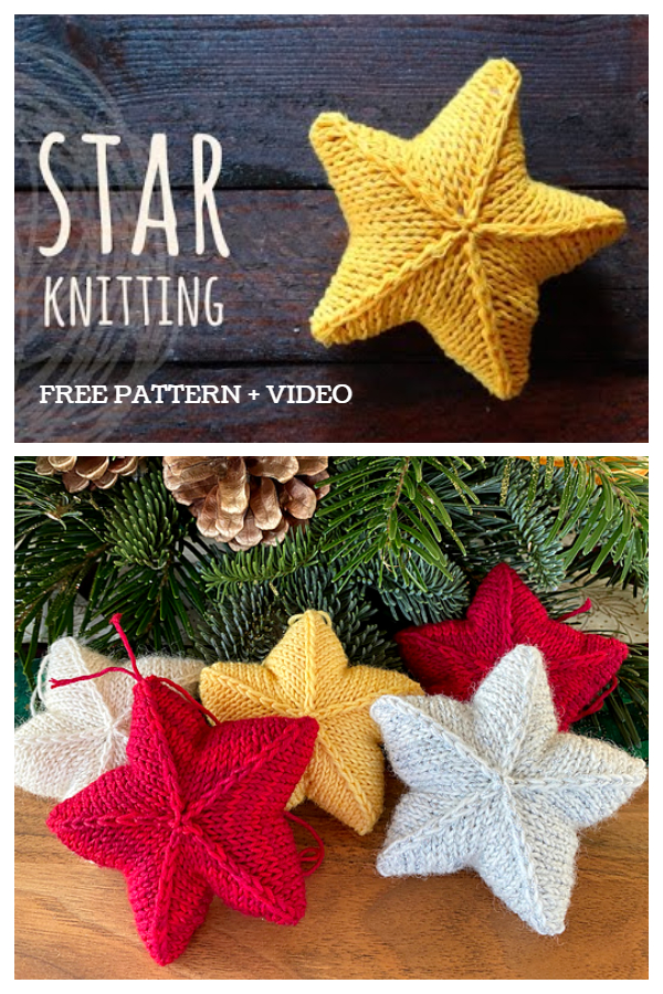 Knit Christmas Star Ornament Free Knitting Patterns + video