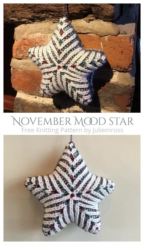 Knit November Mood Star Free Knitting Patterns