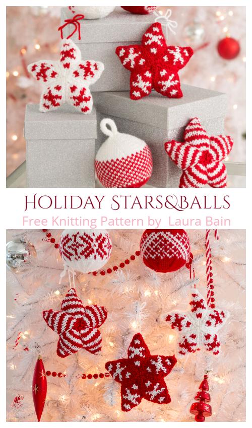 Knit Holiday Stars & Balls Free Knitting Patterns